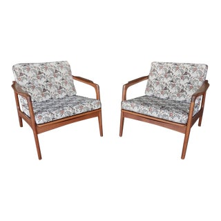 Upholstered Teak Lounge Chairs - A Pair