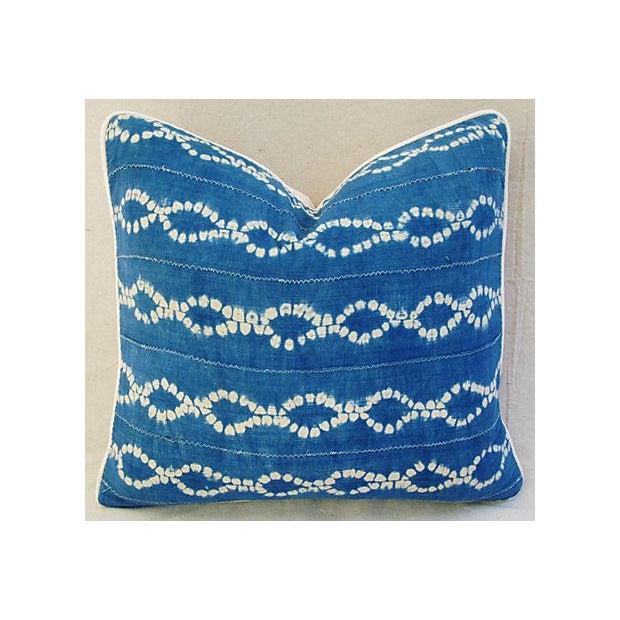 Custom Blue & White Batik Cotton/Linen Pillow - Image 2 of 4