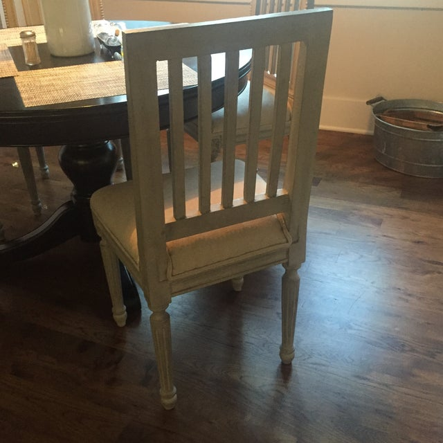 Shabby Chic Gray Wood Dining Chairs - Set of 4 - Image 4 of 6