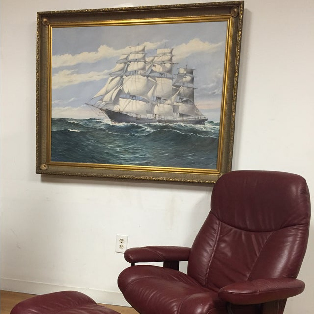 Wendell F. Collum Large Ship Painting - Image 3 of 9