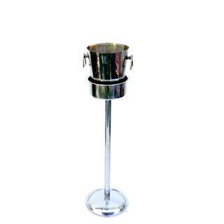 Art Deco Silver Geometric Champagne Chiller & Stand