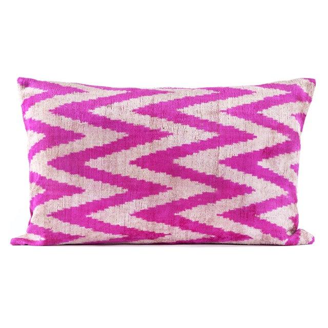 Pink Silk Velvet Ikat Pillow - Image 1 of 2