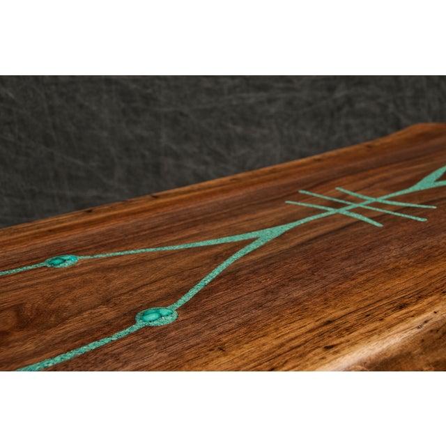 Black Walnut Live Edge Turquoise Inlay Slab Bench - Image 5 of 6
