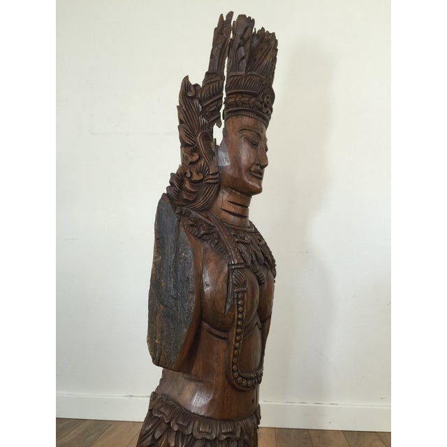 Image of Large Carved Asian Wood Figure