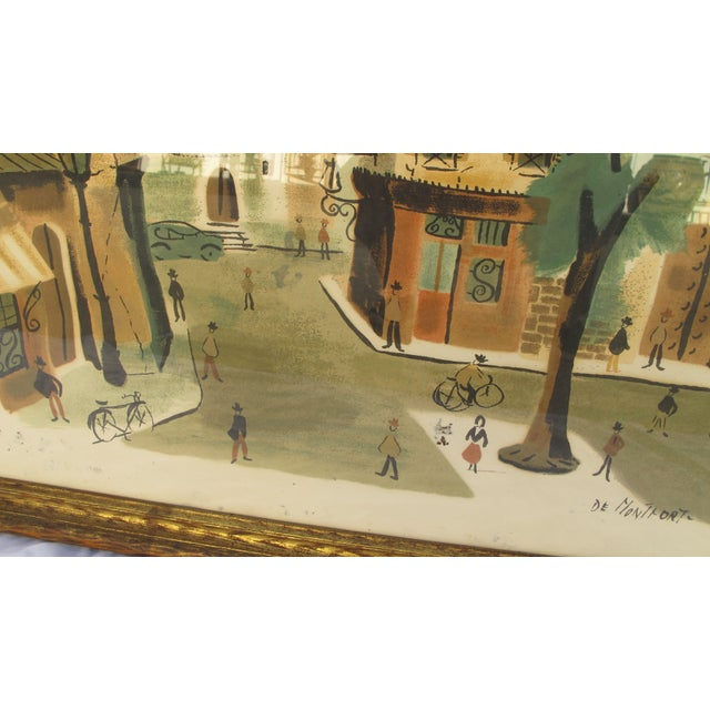 Antique Lithograph of Village Scene - Image 3 of 6