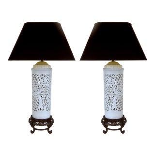 Asian Porcelain & Wood Table Lamps - A Pair