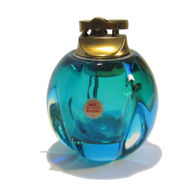 Image of Mid-Century Murano Blue Green Glass Table Lighter