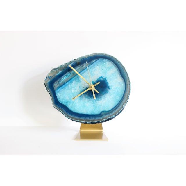 Image of Agate Slice Teal Desk Clock