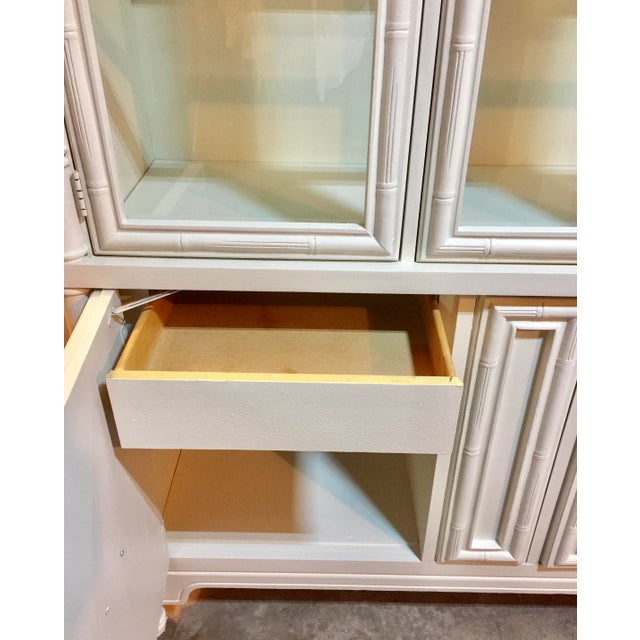 Chinoiserie Faux Bamboo Painted China Cabinet - Image 10 of 10