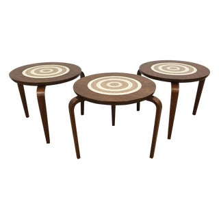 Aalto Style Walnut Stacking Tables - Set of 3