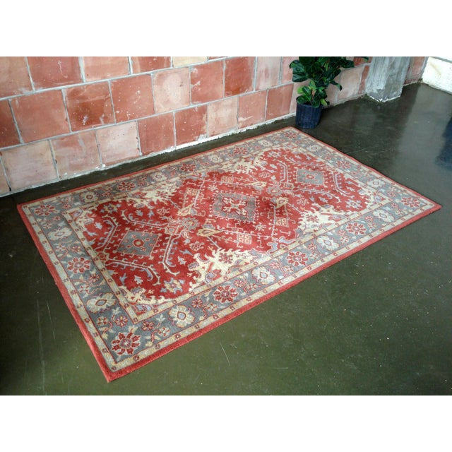 Pottery barn red blue area rug 5 39 x 8 39 chairish - Discontinued pottery barn rugs ...