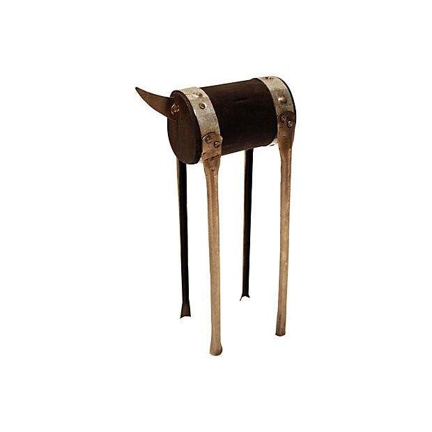 Modern Handmade Sculpture of a Bull - Image 2 of 4