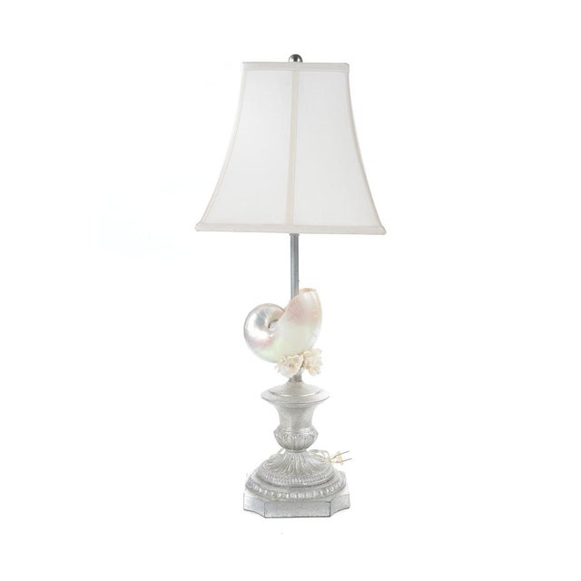Image of Silver Seashell Table Lamps - A Pair