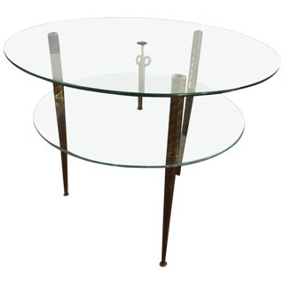 Italian Modern Two-Tiered Glass and Brass Side Table