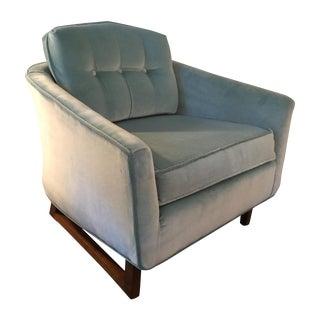 Mid-Century Aqua Blue Velvet Armchair