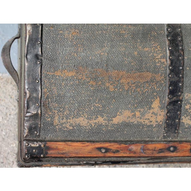 19th Century Original Green Painted Dome Top Trunk - Image 6 of 9