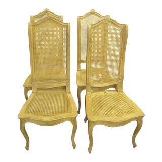 Baker Tall Back Cane & Carved Wood Dining Chairs - Set of 4