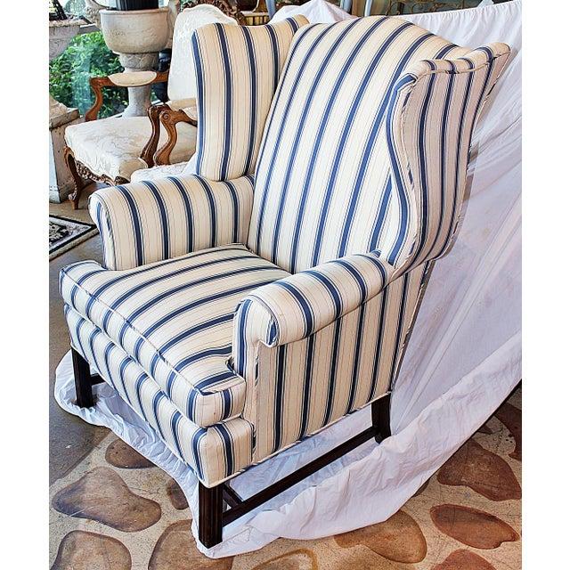 Engish Style Yellow Amp Blue Striped Wingback Chairish