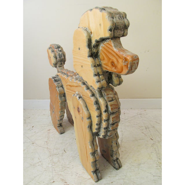 Life Size Wooden Poodle Sculpture - Image 4 of 7