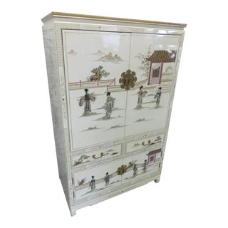 Chinoiserie Asian Lacquer Entertainment Cabinet