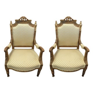 Louis XVI Gilt Armchairs - A Pair