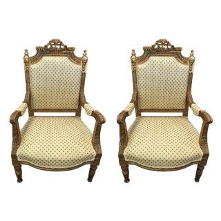 Louis XVI Gilt Armchairs - A Pair