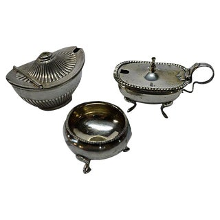 Antiques Open Salt Dip Cellars - Set of 3