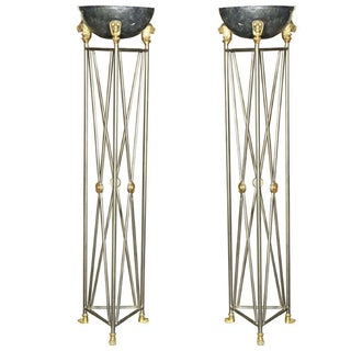 Metal French Directoire Style Planters - Pair