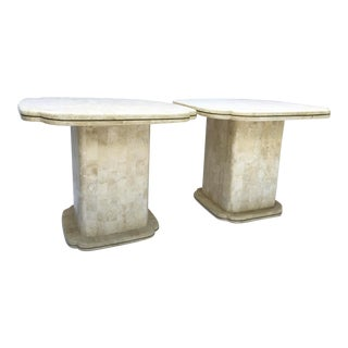 Maitland-Smith Tessellated Bone Fossil End Tables - A Pair