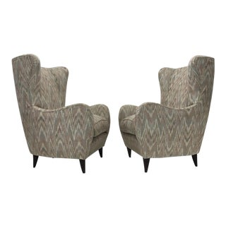 Italian High Back Lounge Chairs - A Pair