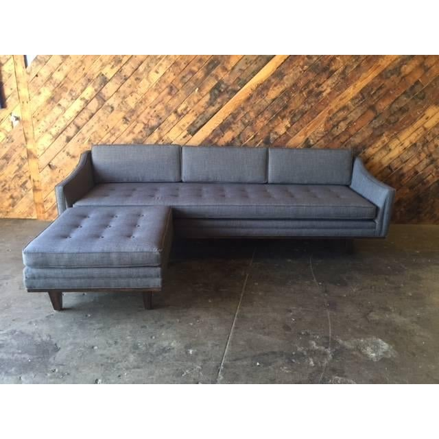 mid century style tufted sofa with ottoman chairish. Black Bedroom Furniture Sets. Home Design Ideas