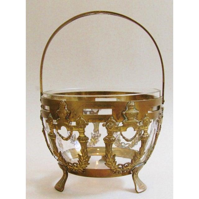 Antique Brass Filigree & Crystal Basket - Image 2 of 10