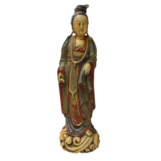 Chinese Carved Wood Kwan Yin Lady Statue Figure