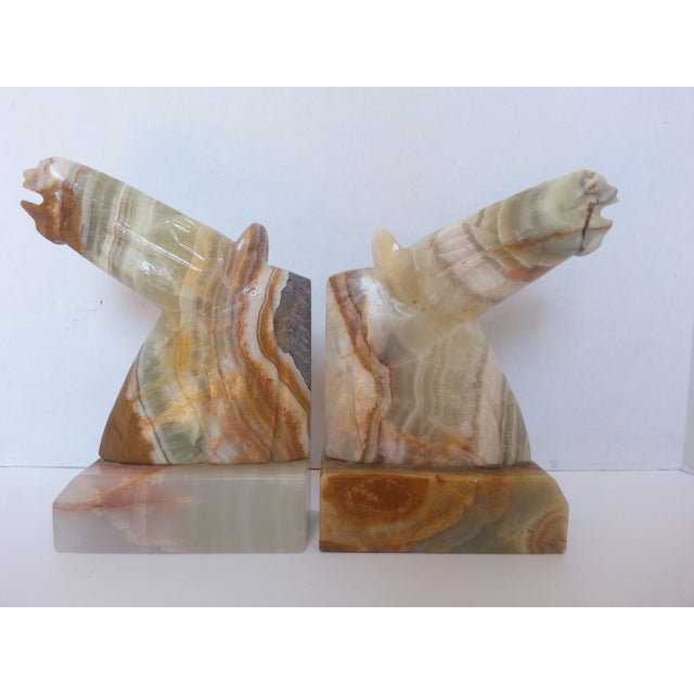 Image of Onyx Horse Head Bookends - A Pair