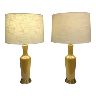 Vintage Crackle Glazed Lamps - A Pair