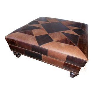 Paul Robert Patchwork Leather Ottoman