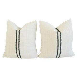 French Grain Sack Textile Pillows - A Pair