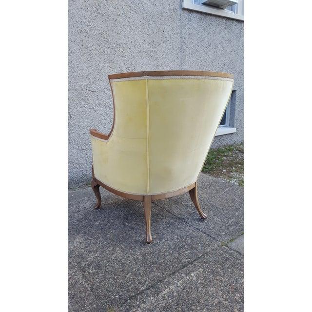 Antique Canary Yellow Velvet Armchair | Chairish