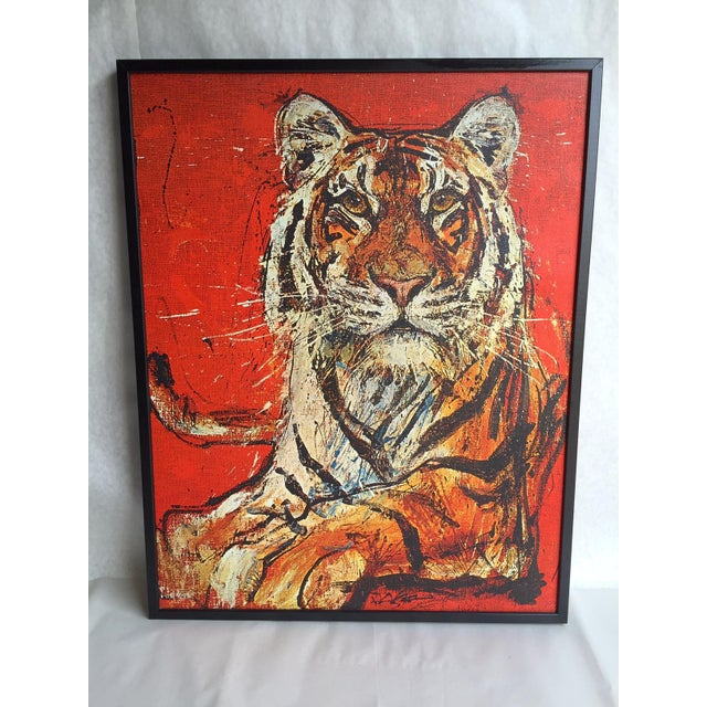 Image of Vintage Bengal Tiger Canvas Art 1970s
