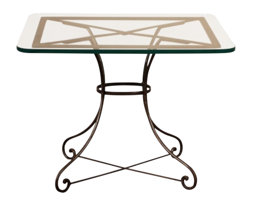Vintage French Industrial Iron U0026 Glass Bistro Table