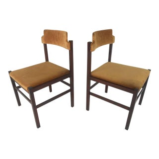 Set Of Six Italian Rosewood Mid-Century Chairs In Crushed Velvet