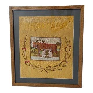 Antique Cincinnati Romulus/Remus Silk Embroidery