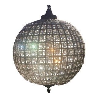 "Large French Beaded Globe Chandelier 22"" Antique Reproduction"