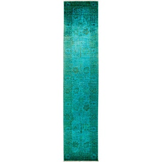 Vibrance Green Hand Knotted Runner - 3' X 13'10""