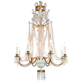 Italian Beaded Crystal & Carved Chandelier