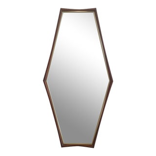 Edmund Spence Style Walnut & Brass Hexagonal Mirror