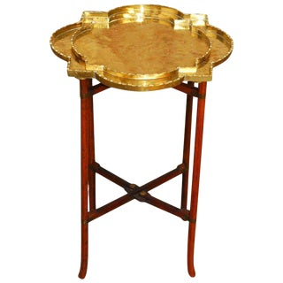Asian Folding Brass Quatrefoil Tray Table or Drink Table