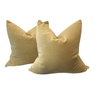 Citron Velvet Pillows - A Pair