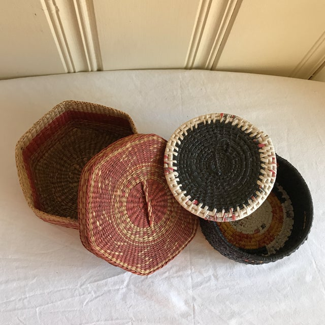 Natural Woven Boho Basket Boxes - A Pair - Image 3 of 10