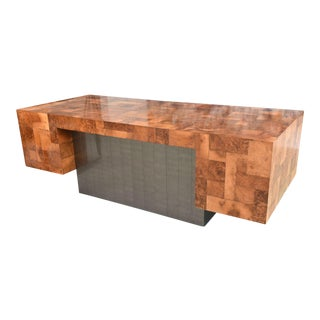 American Modern Burled Walnut and Pewter Cityscape Desk, Paul Evans